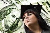College grad with $100 bills in background.