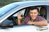 Happy young driver