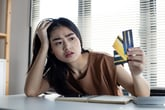 Woman with a lot of credit card debt