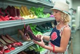 Woman shoe shopping in a thrift store