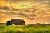 Sunset over Nebraska farm