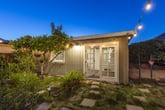 Modern Tiny home House at twilight