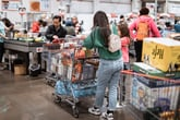Shoppers in line at Costco