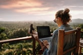 relaxing remote worker with laptop