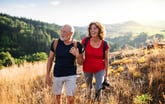 Senior couple hiking outdoors