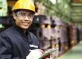 Worker wearing a hard hat