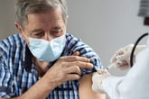 Senior man getting the COVID-19 vaccine