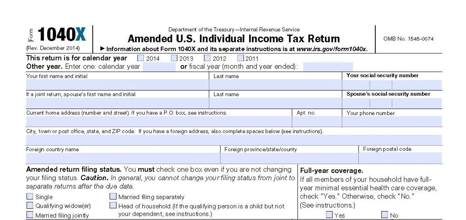 IRS Form 1040X Amended Return