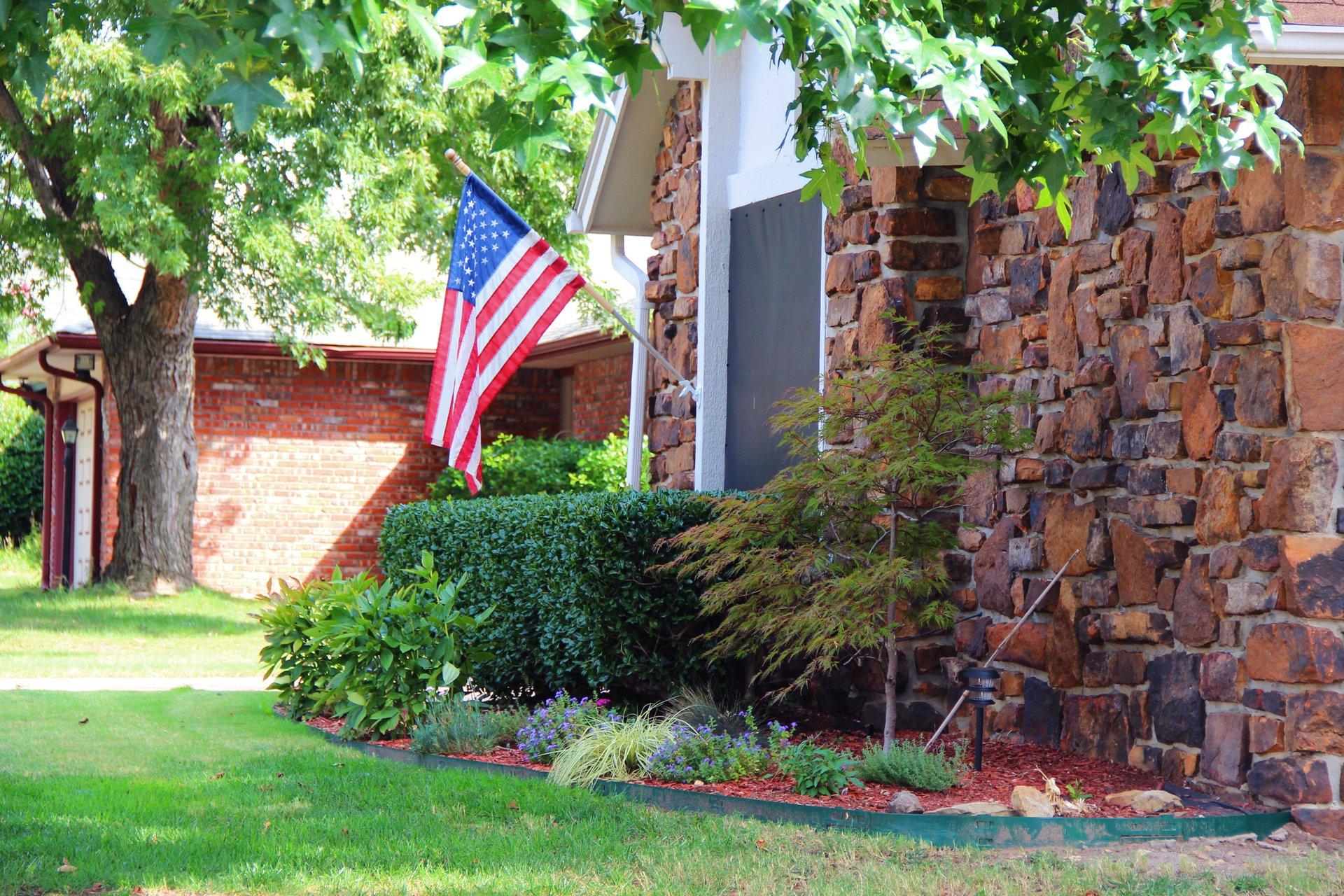 House with U.S. flag