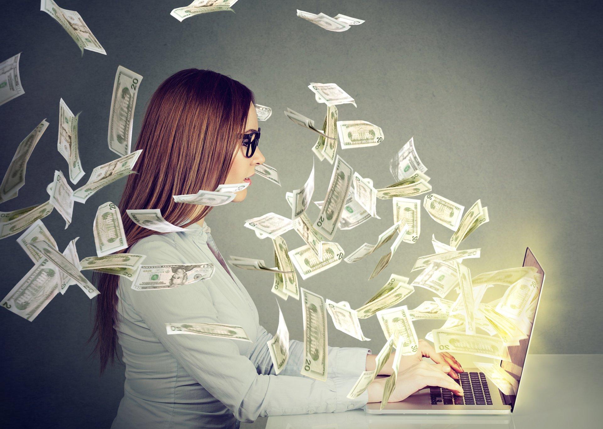 Woman-Computer-Money