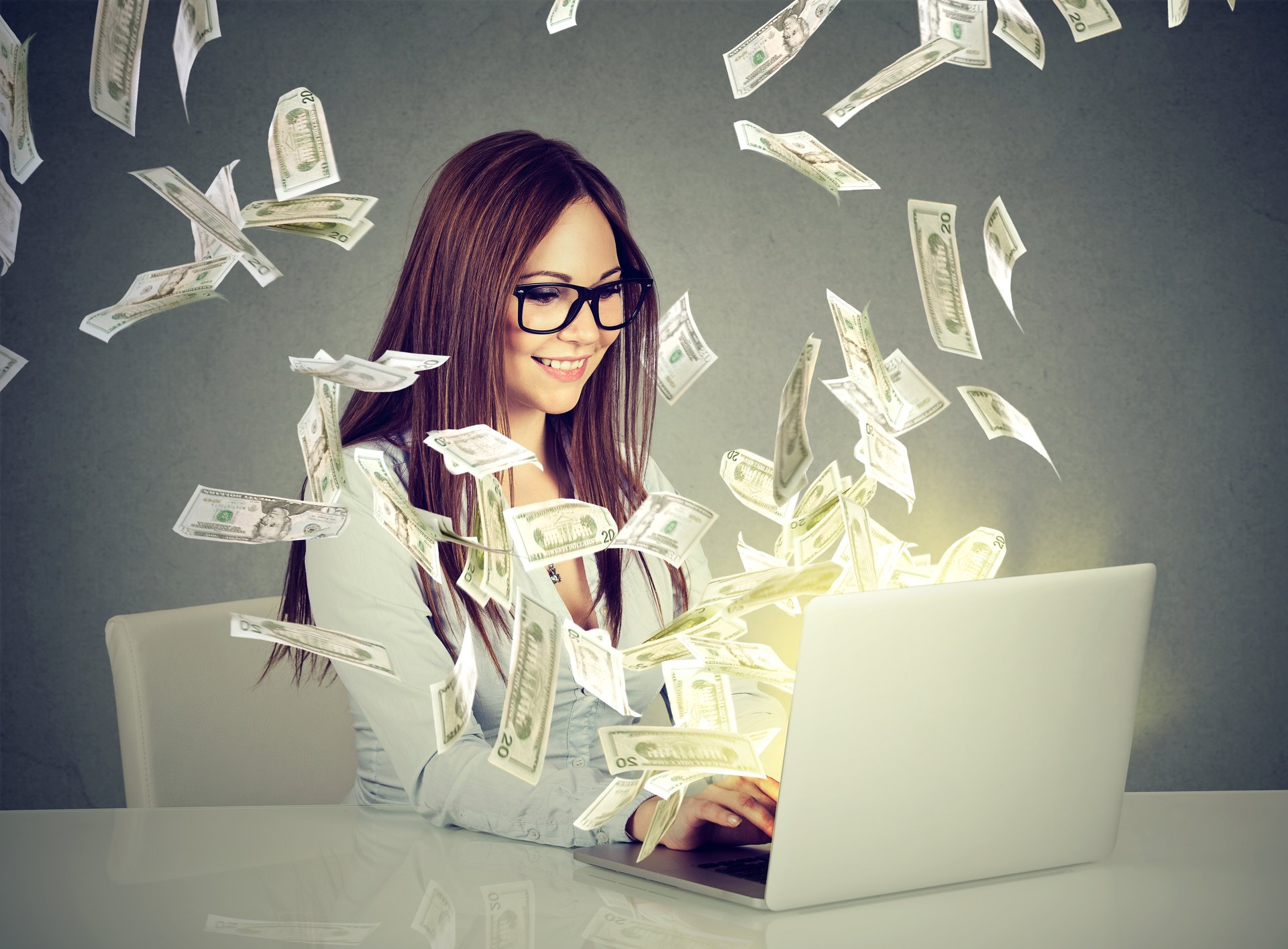 Girl Money Computer