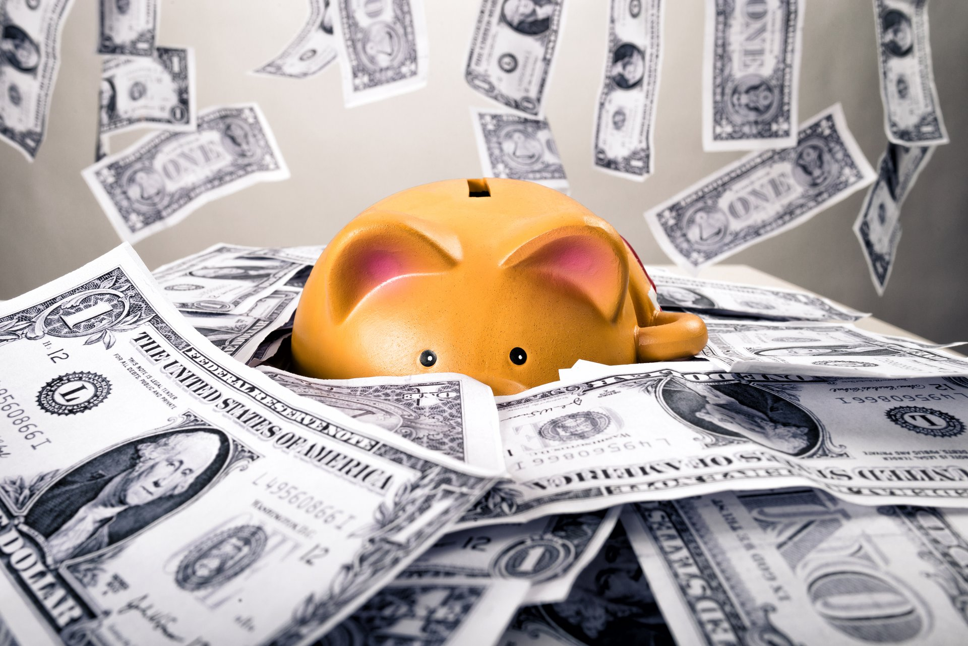 Money piles up around a piggy bank