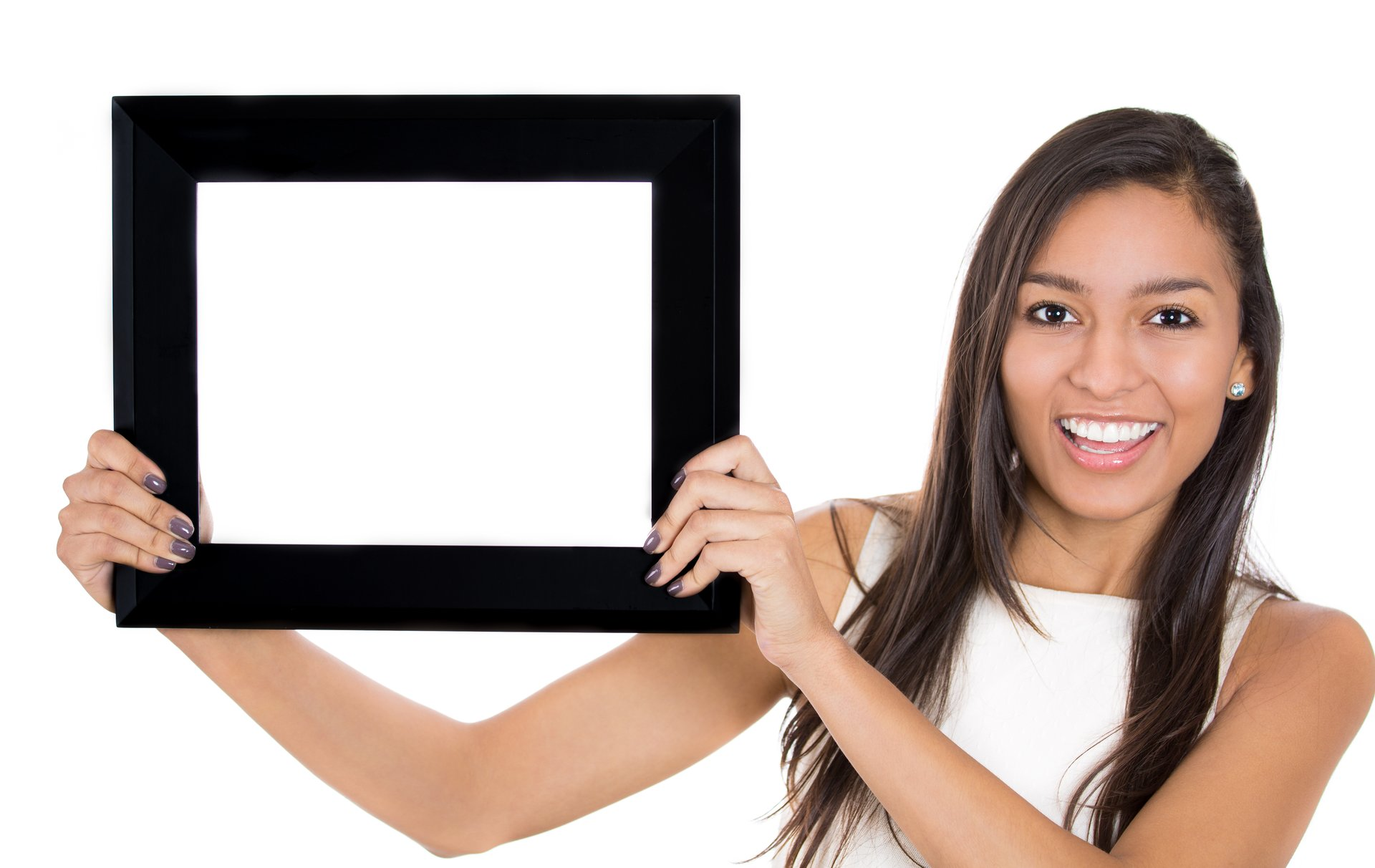 Woman with picture frame