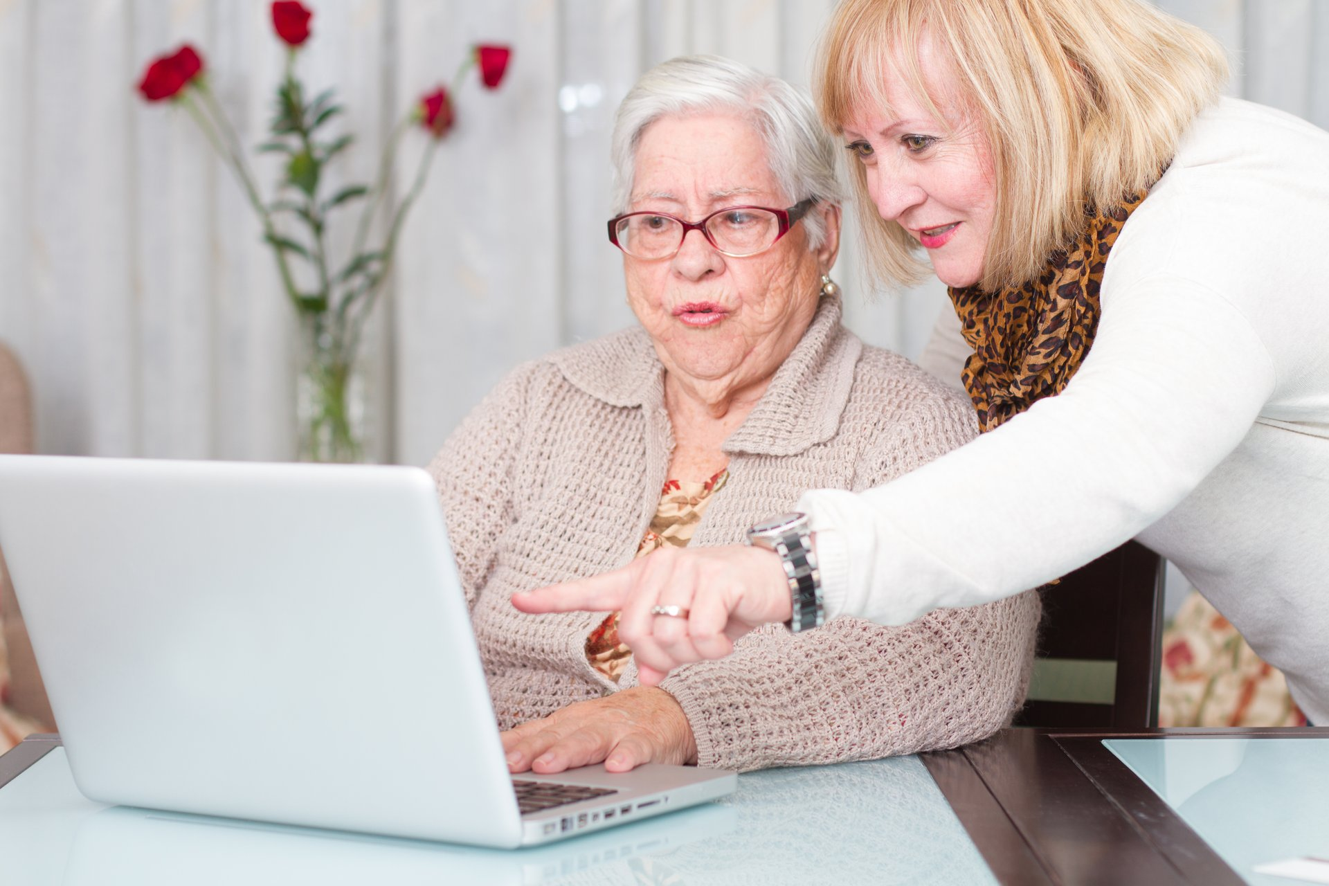 Daughter looking at computer over the shoulder of her elderly mother.