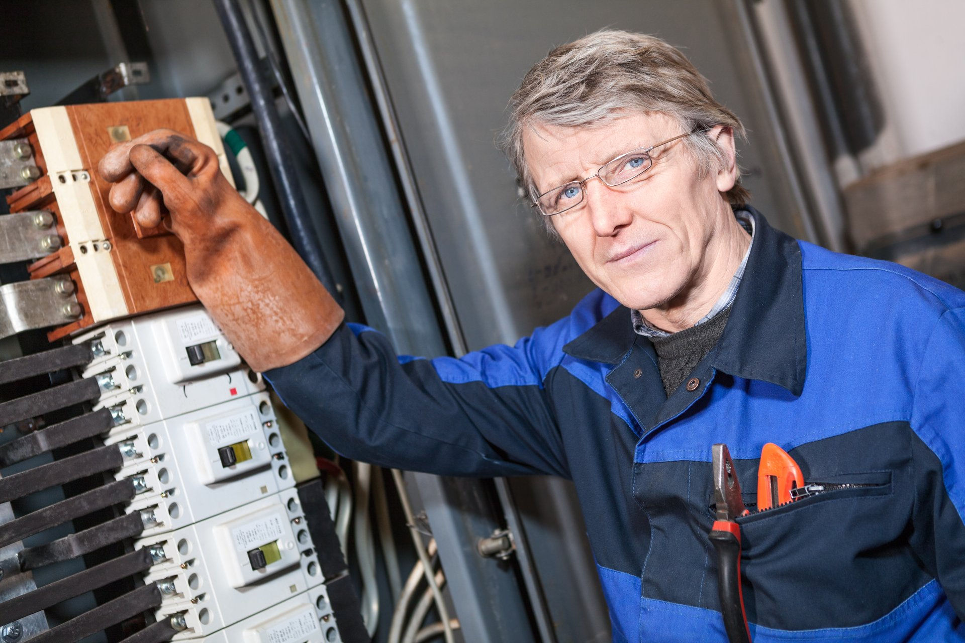 A senior electrician at work