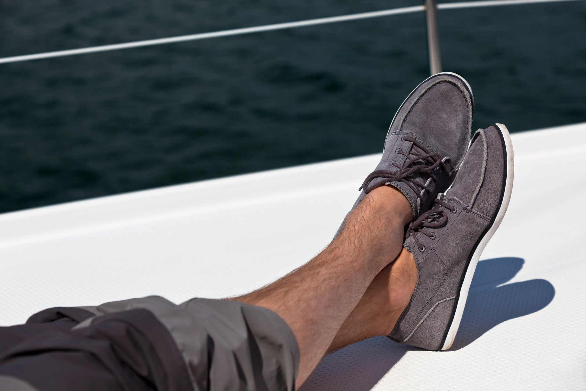 You don't need a boat to enjoy relaxing in deck shoes, but it doesn't hurt.