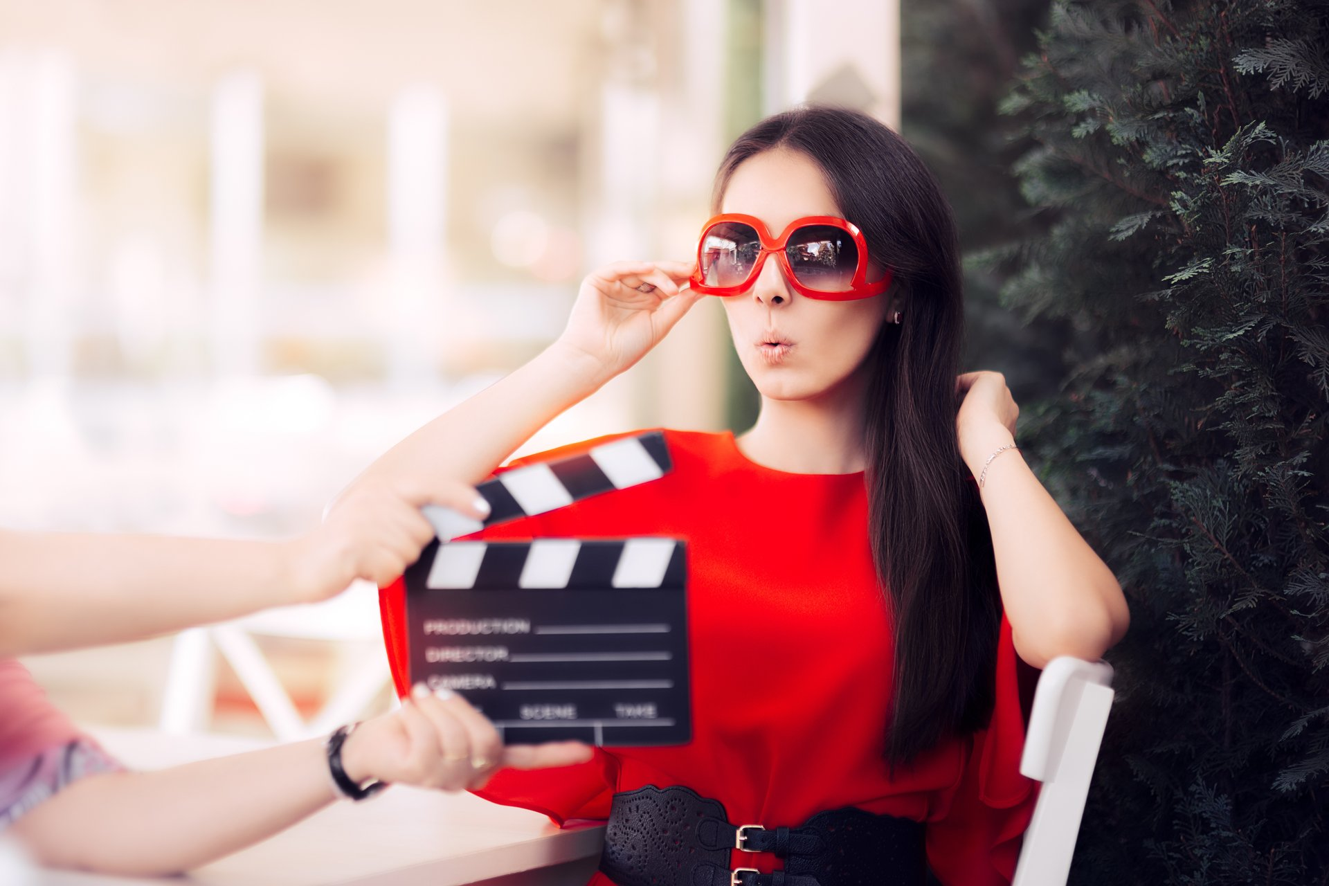 Actress on film set.