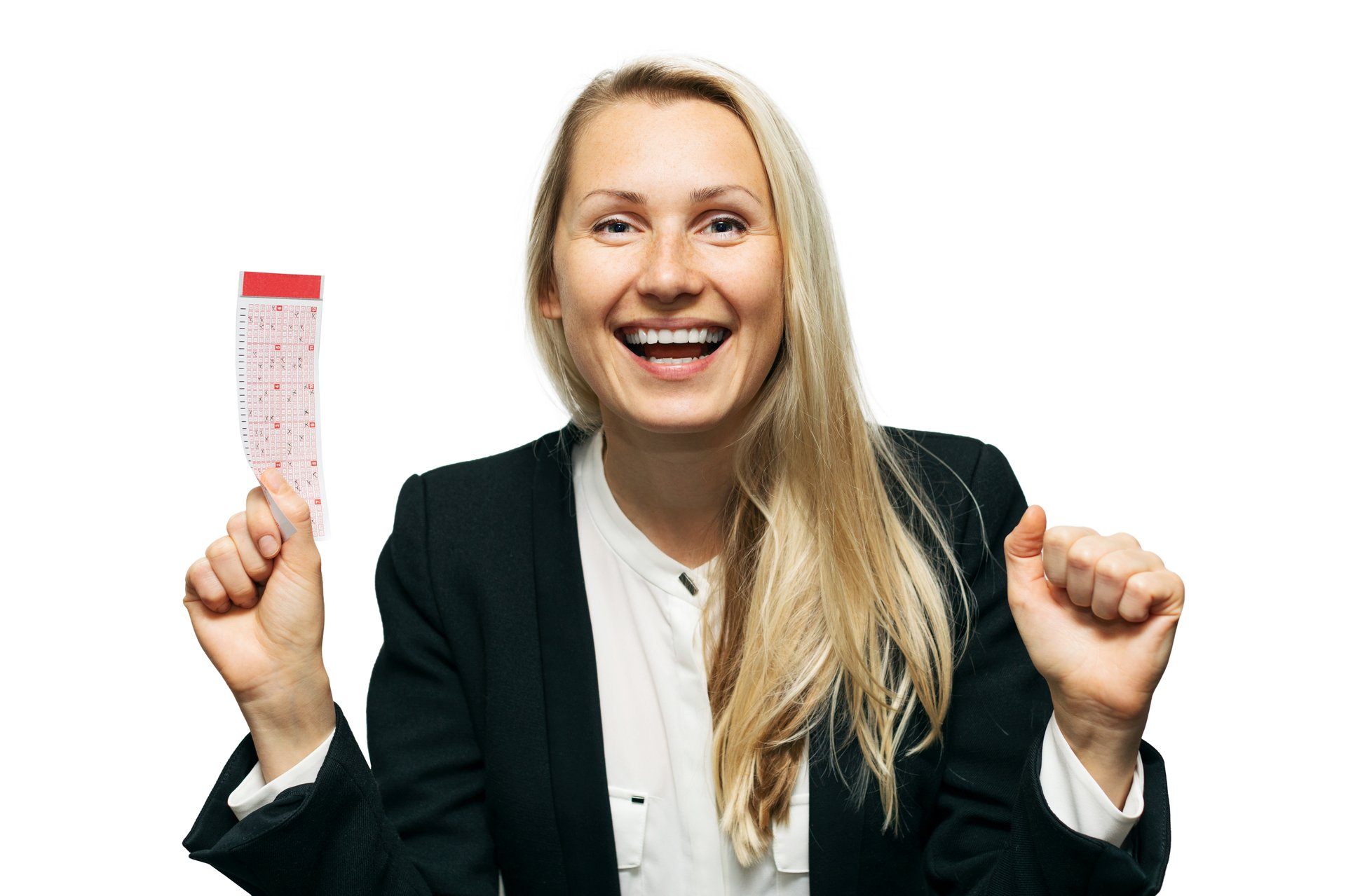 Woman with Lottery Ticket