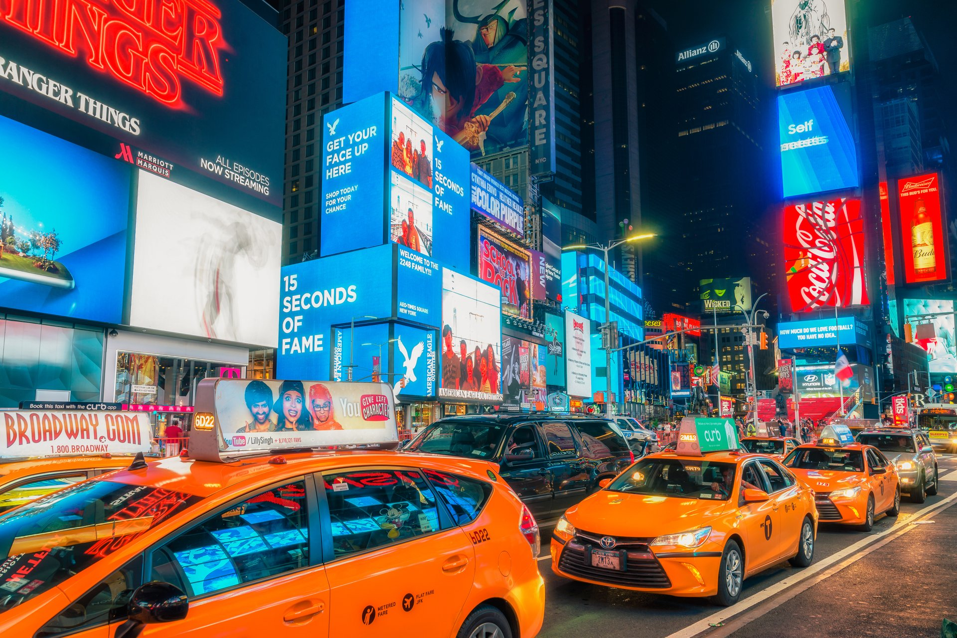 Nighttime in Times Square, New York City.
