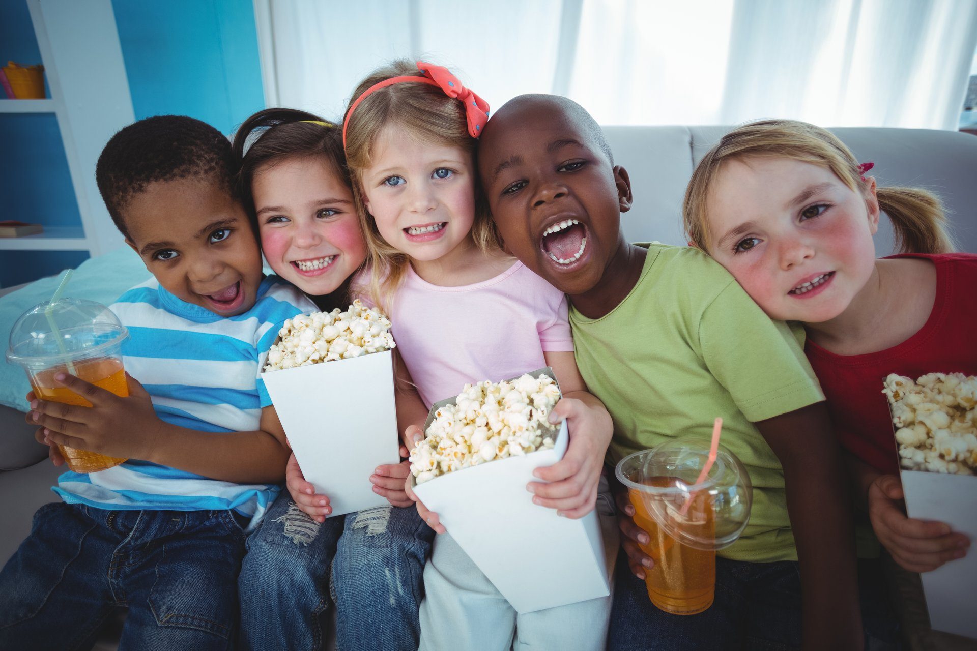 children popcorn multi ethnic african american joyful kids