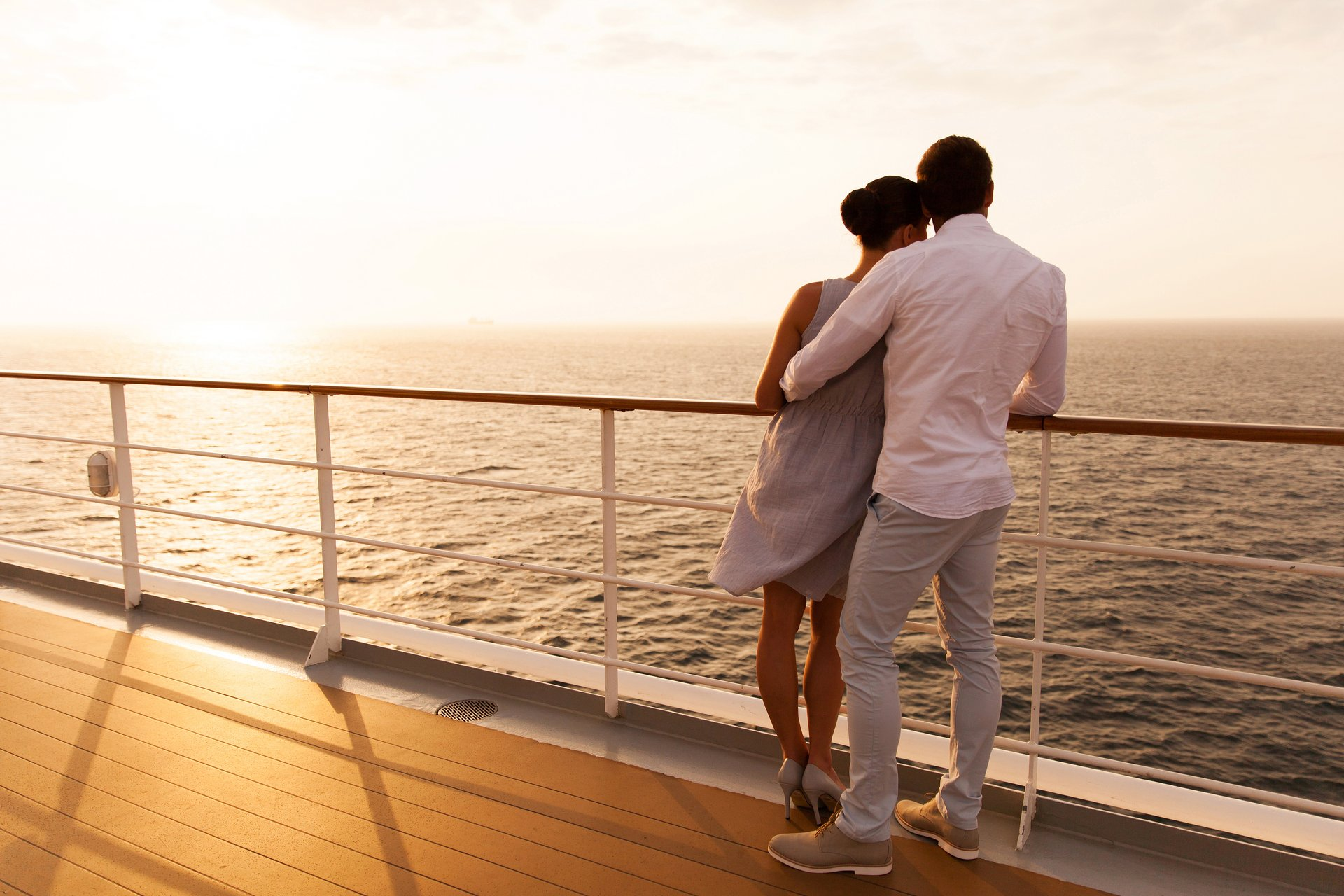 Couple on a cruise ship deck.