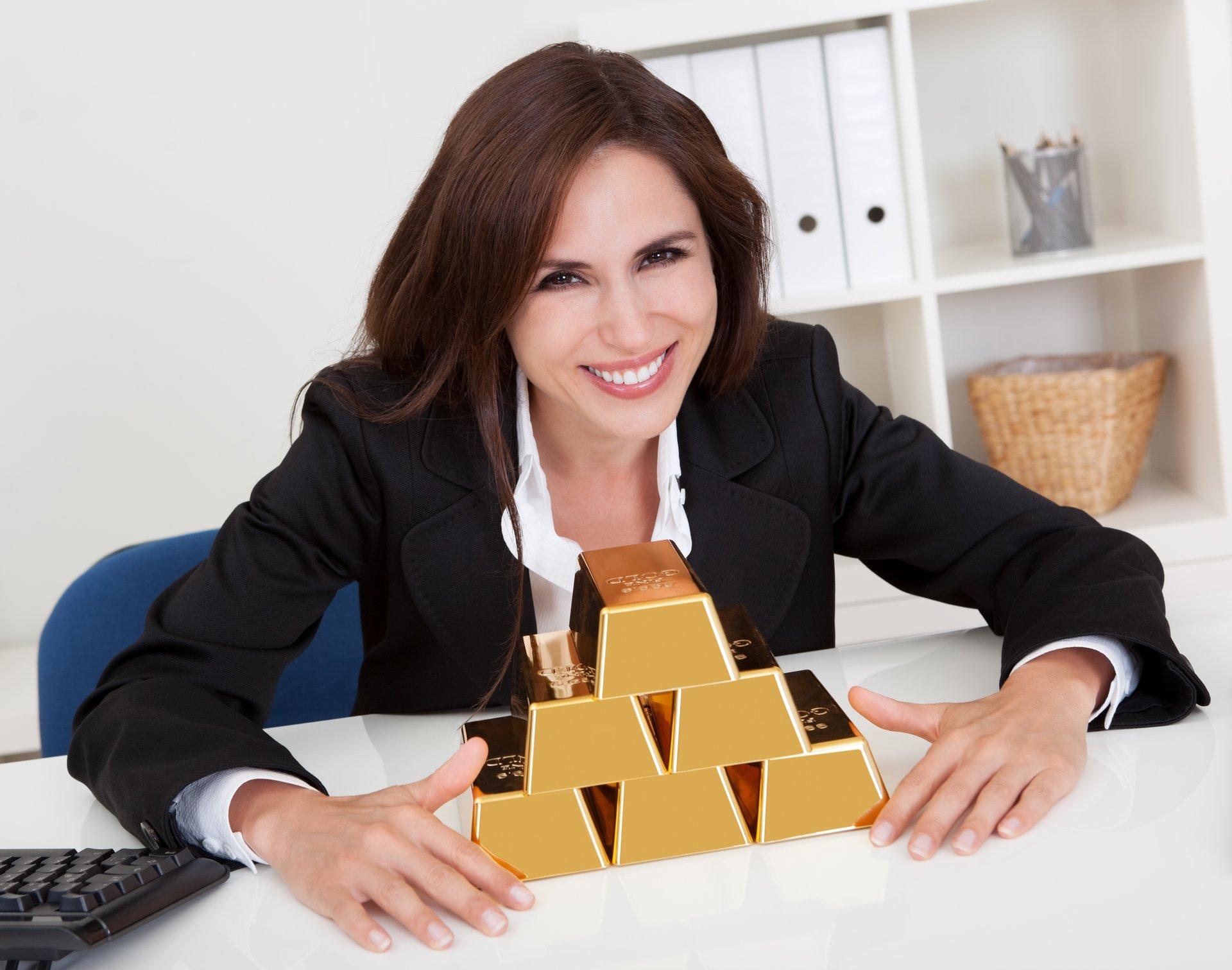 Woman w Gold Bars