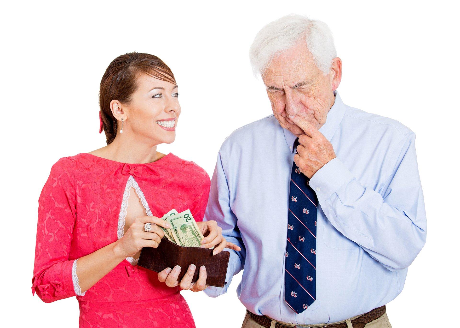 Woman Borrowing From Senior Man