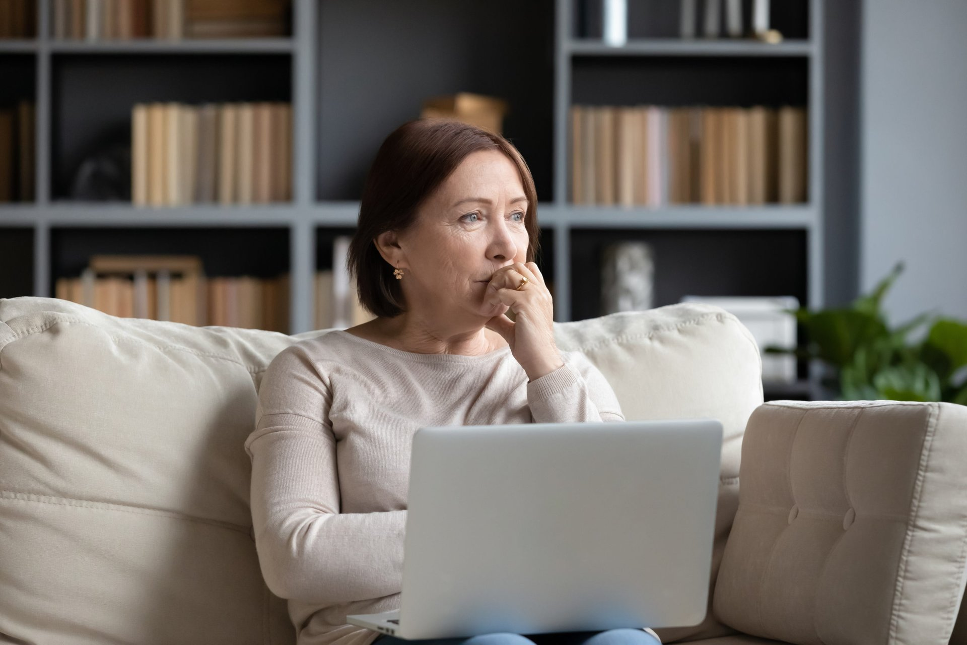 Woman worrying about her target-date funds