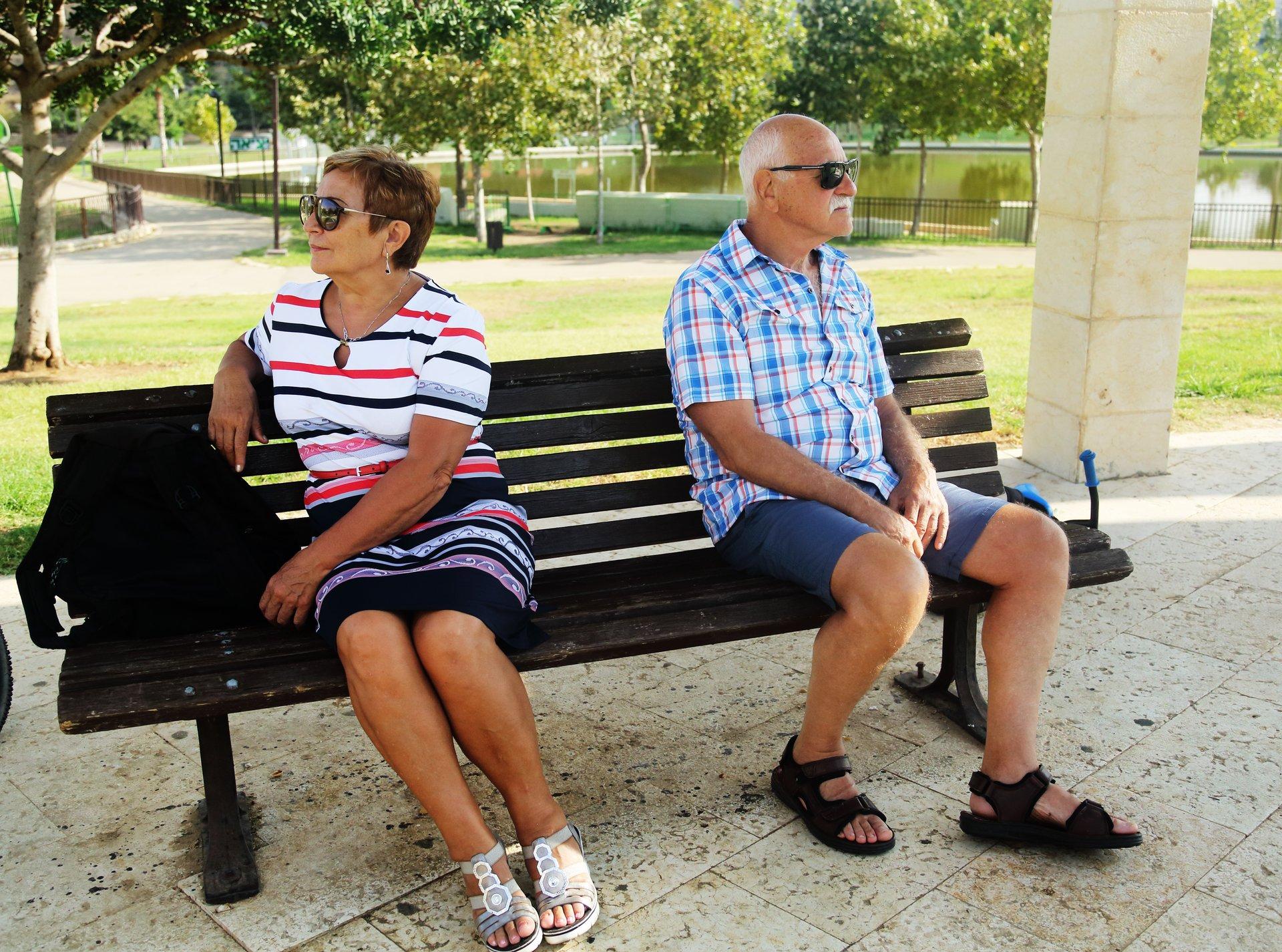 Divorced older couple