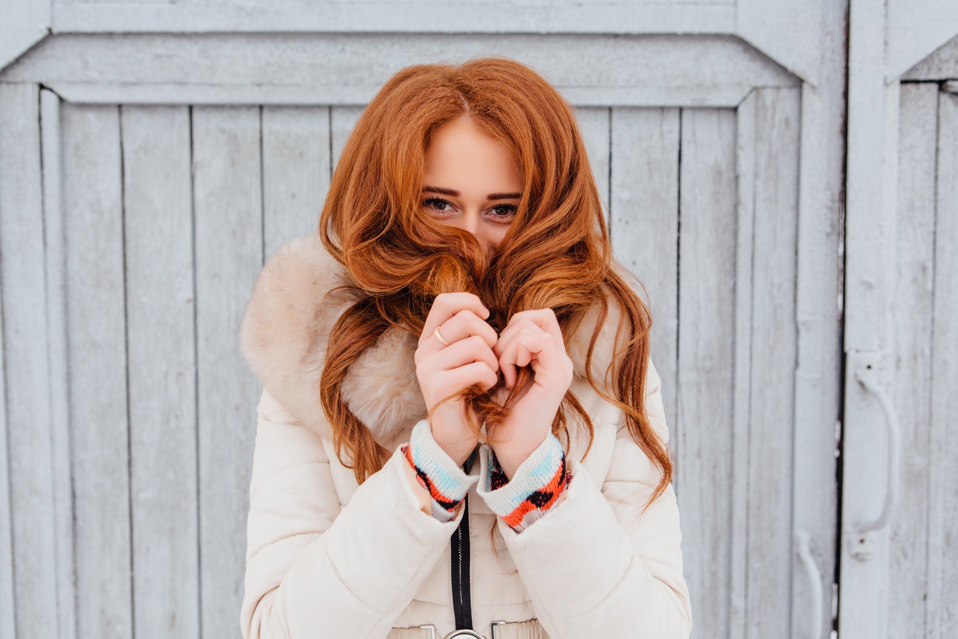 Young woman in warm clothes