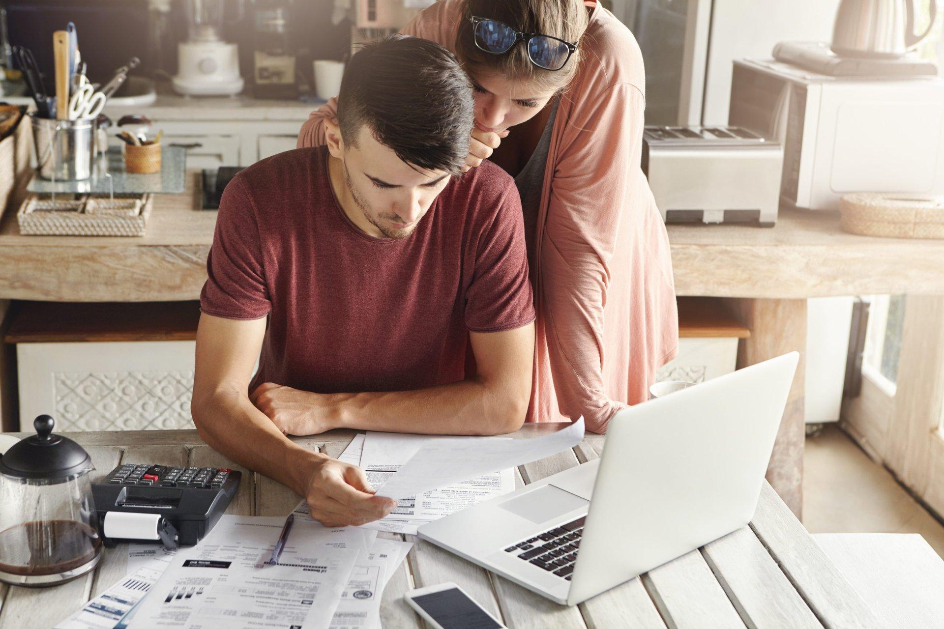 Couple preparing their tax returns