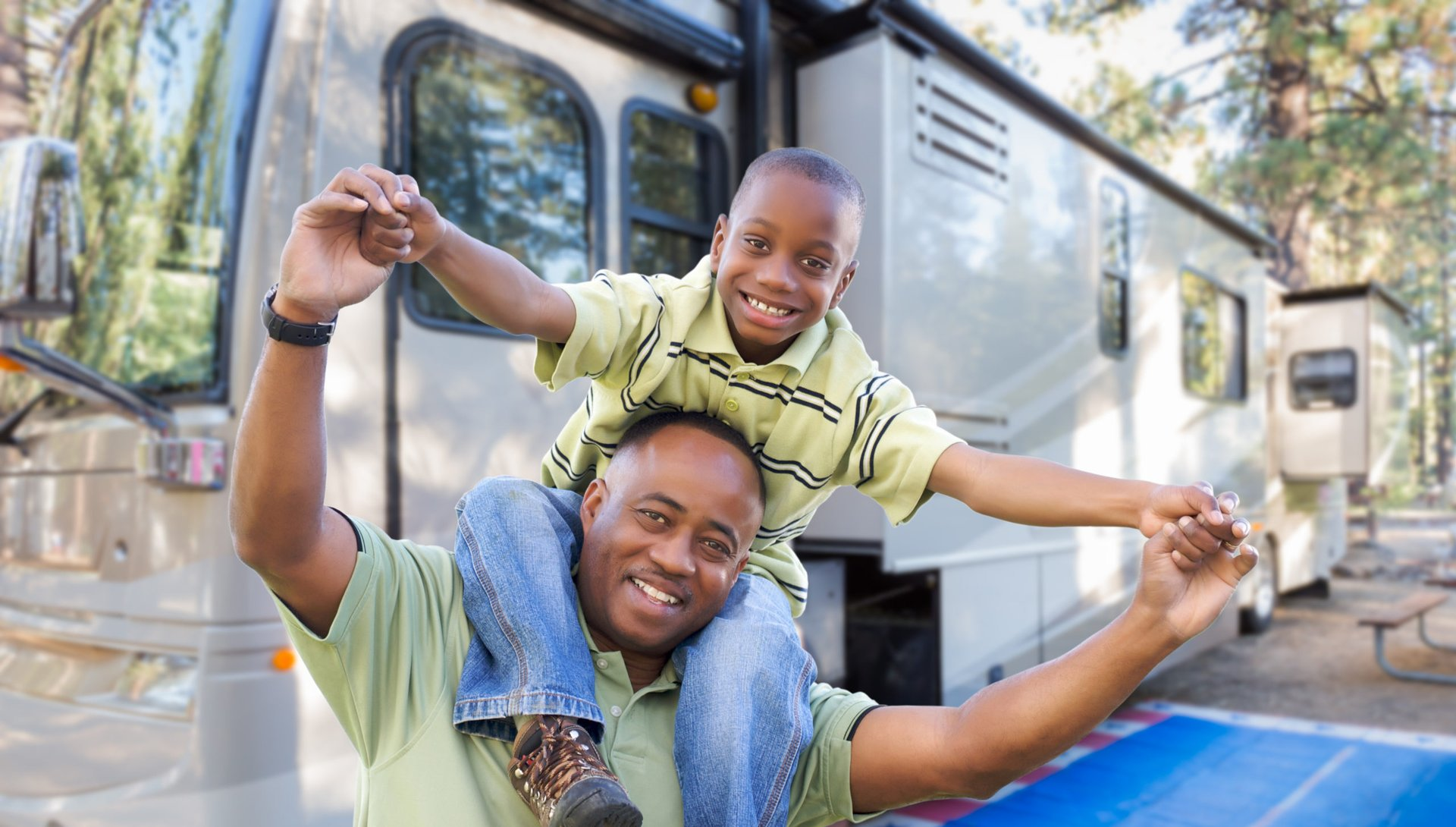 Family traveling by RV