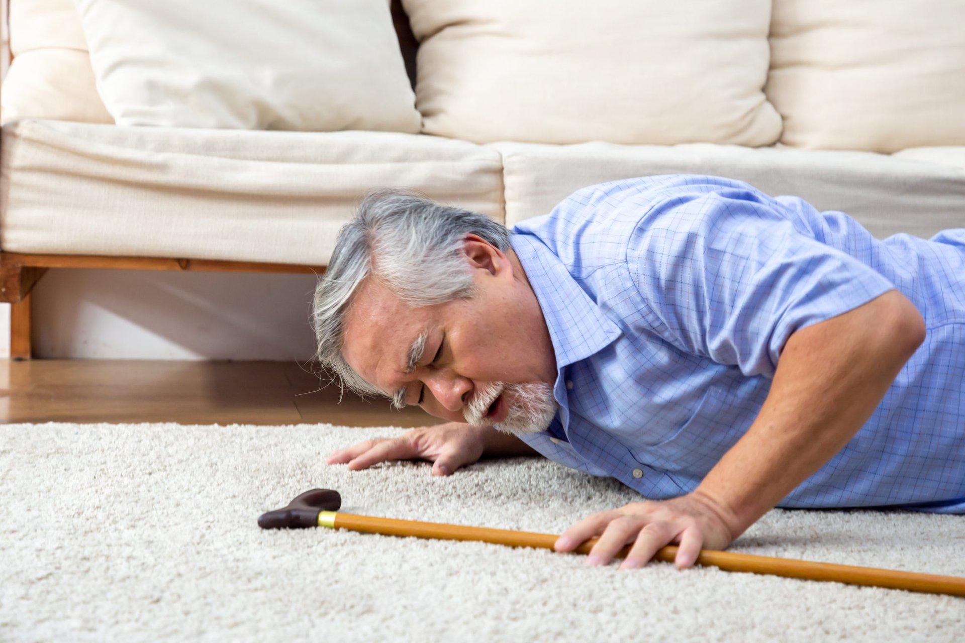 Senior falls down at home