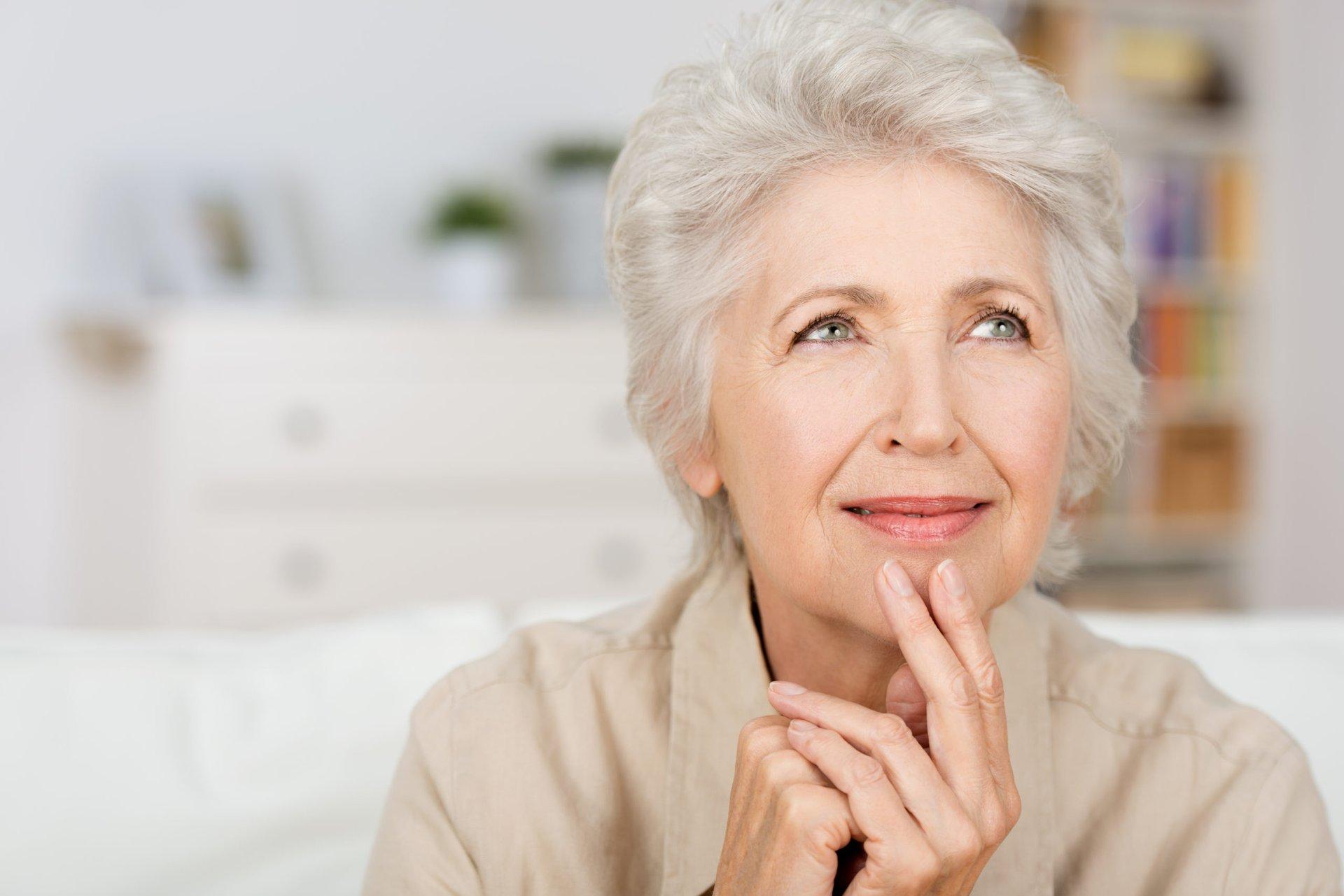Thinking senior woman