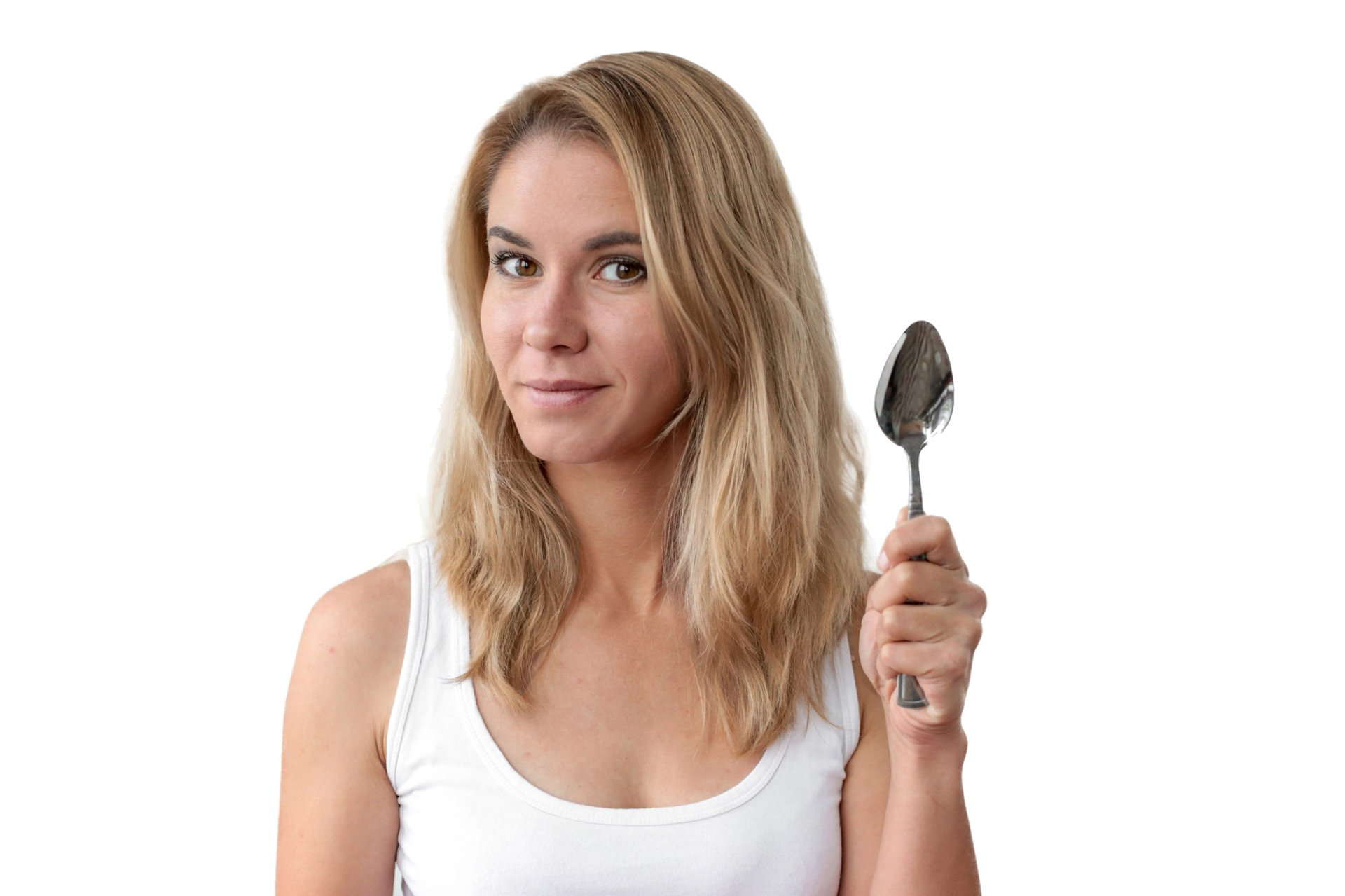 Woman holding a spoon