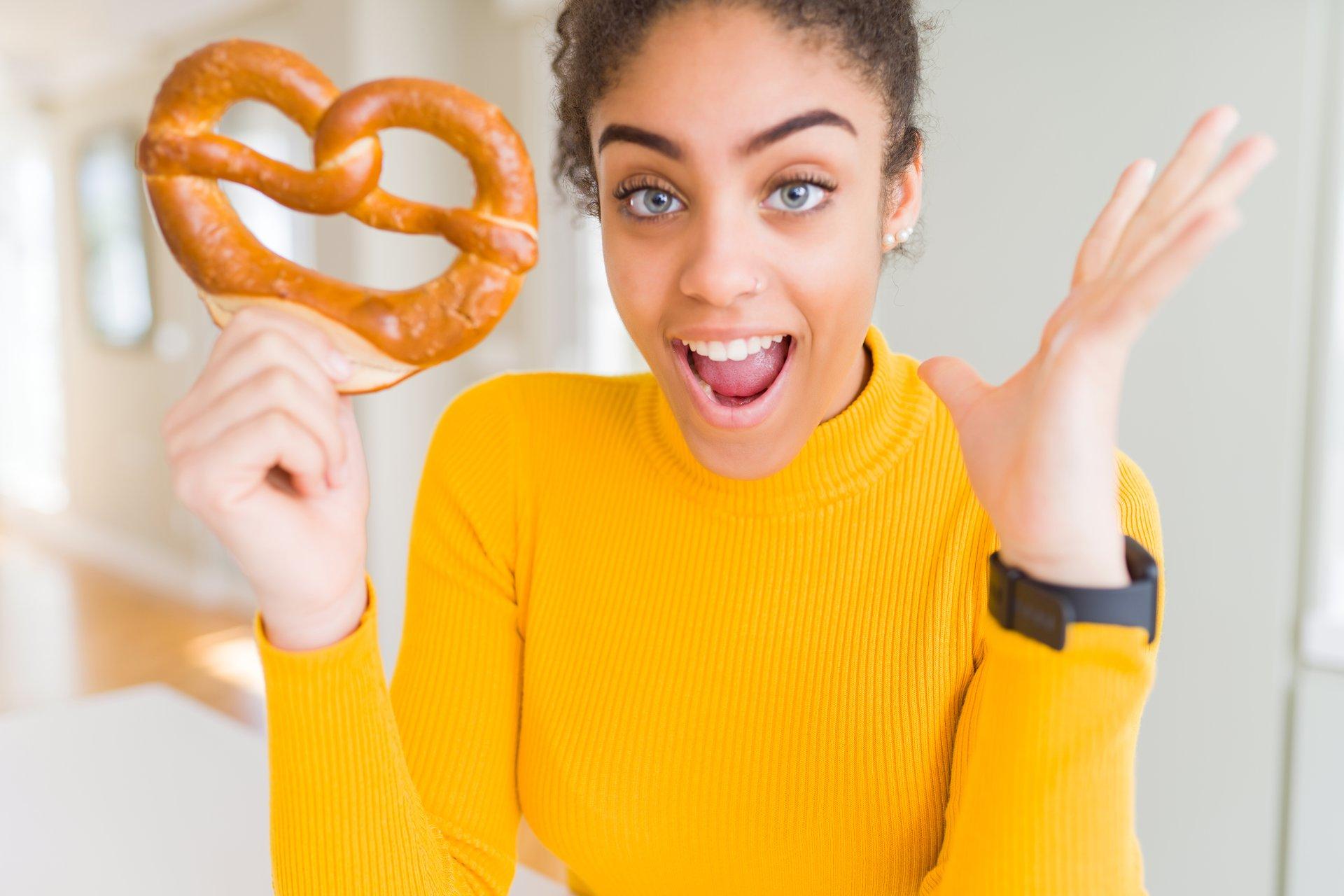 Woman with pretzel