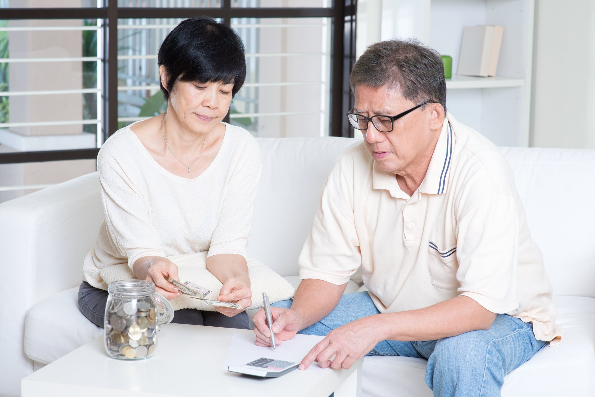 Retired couple with money