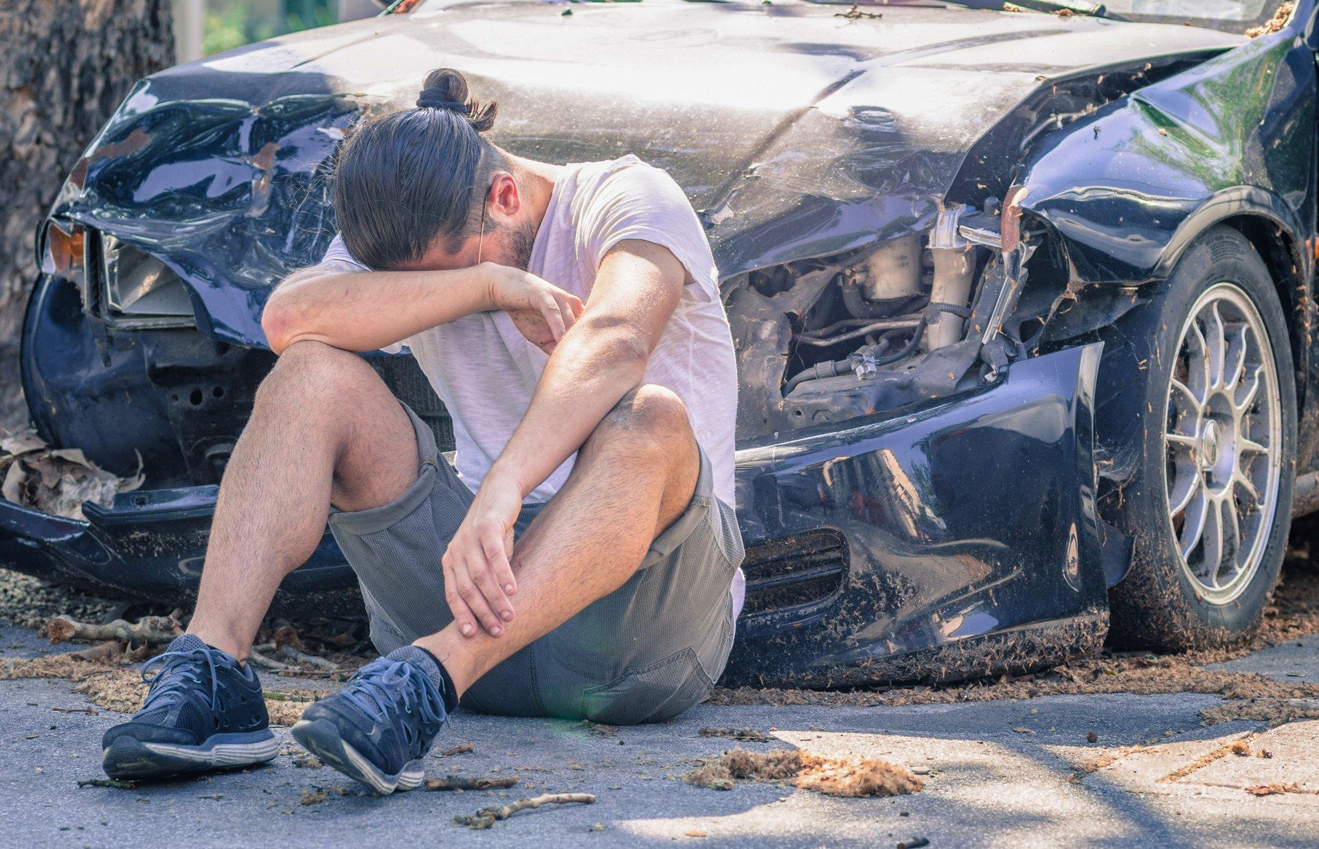 Man after car crash