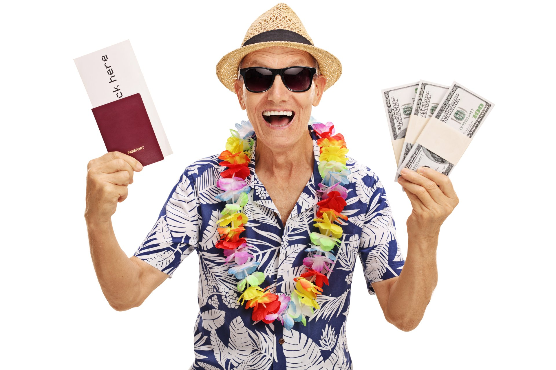 Older tourist with money and tickets