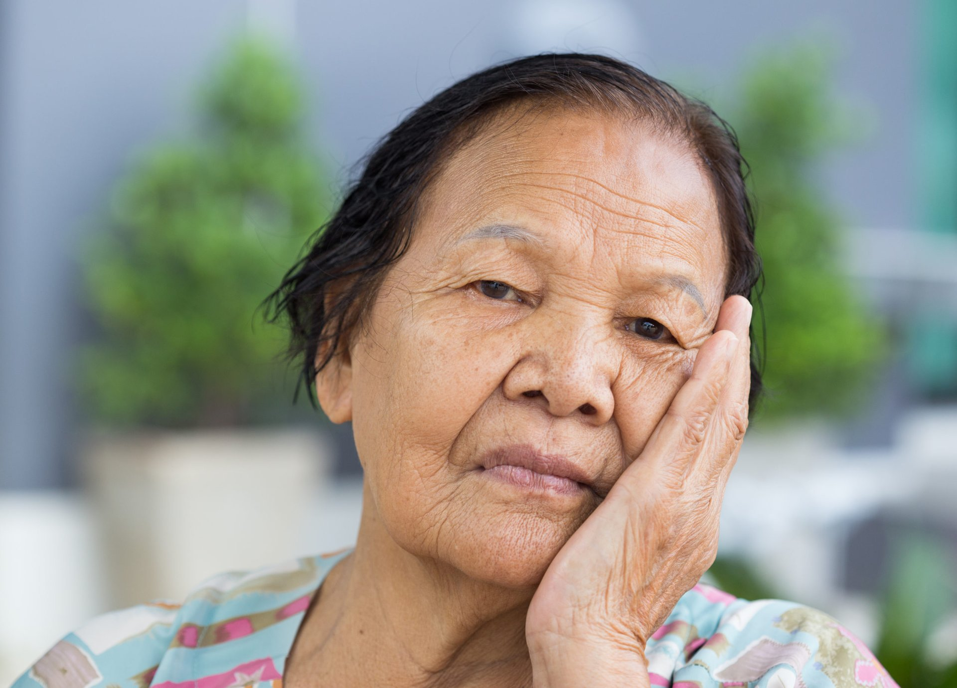 Unhappy senior woman