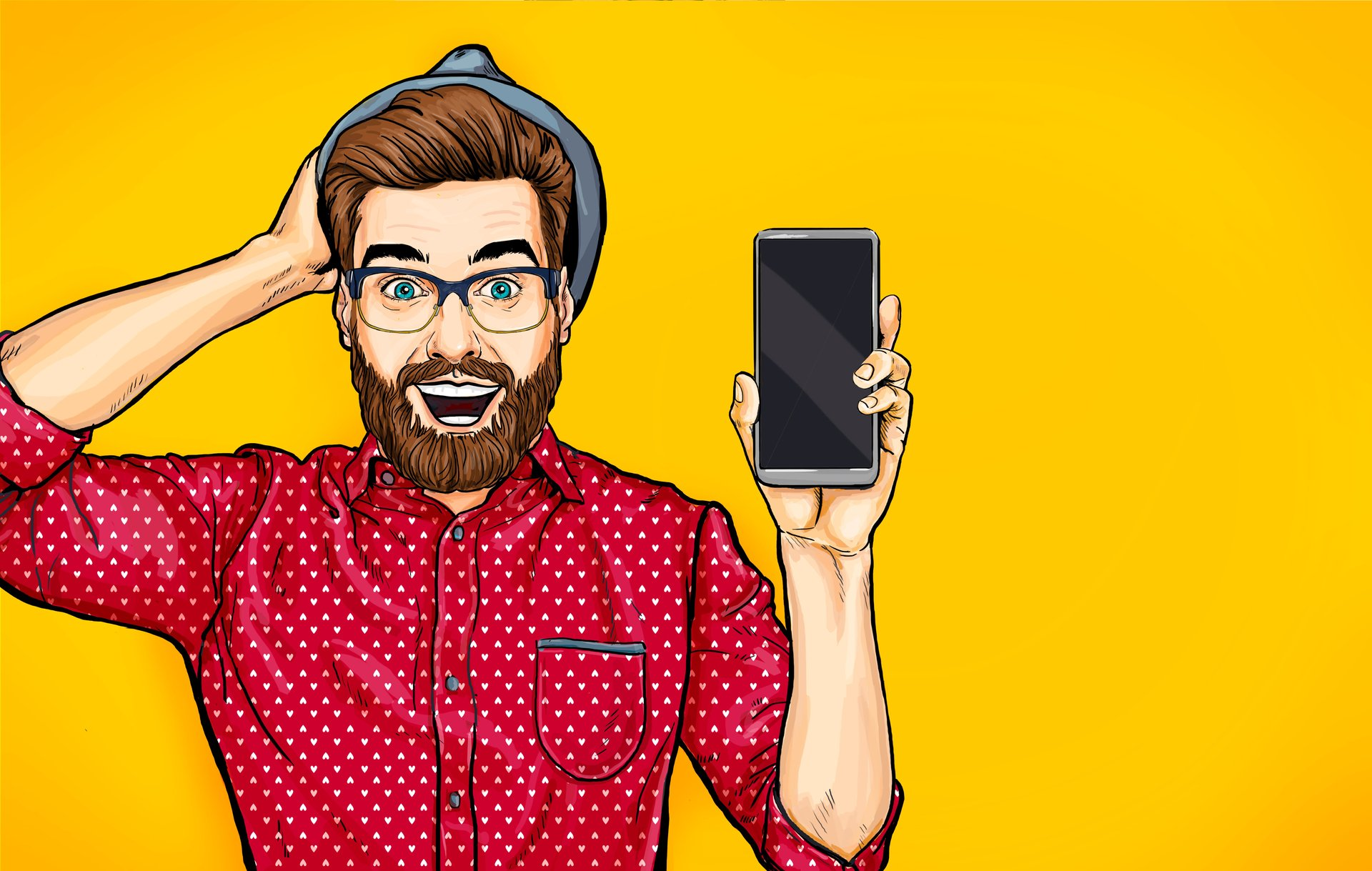Hipster with cellphone graphic
