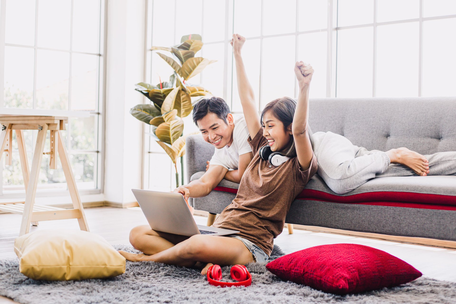 Excited couple shopping online
