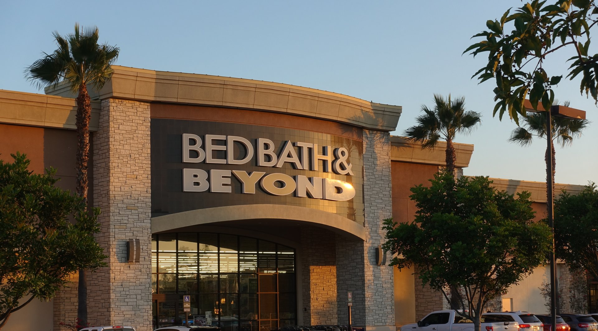 San Marcos, CA Storefront Bed Bath & Beyond California strip mall during golden hour