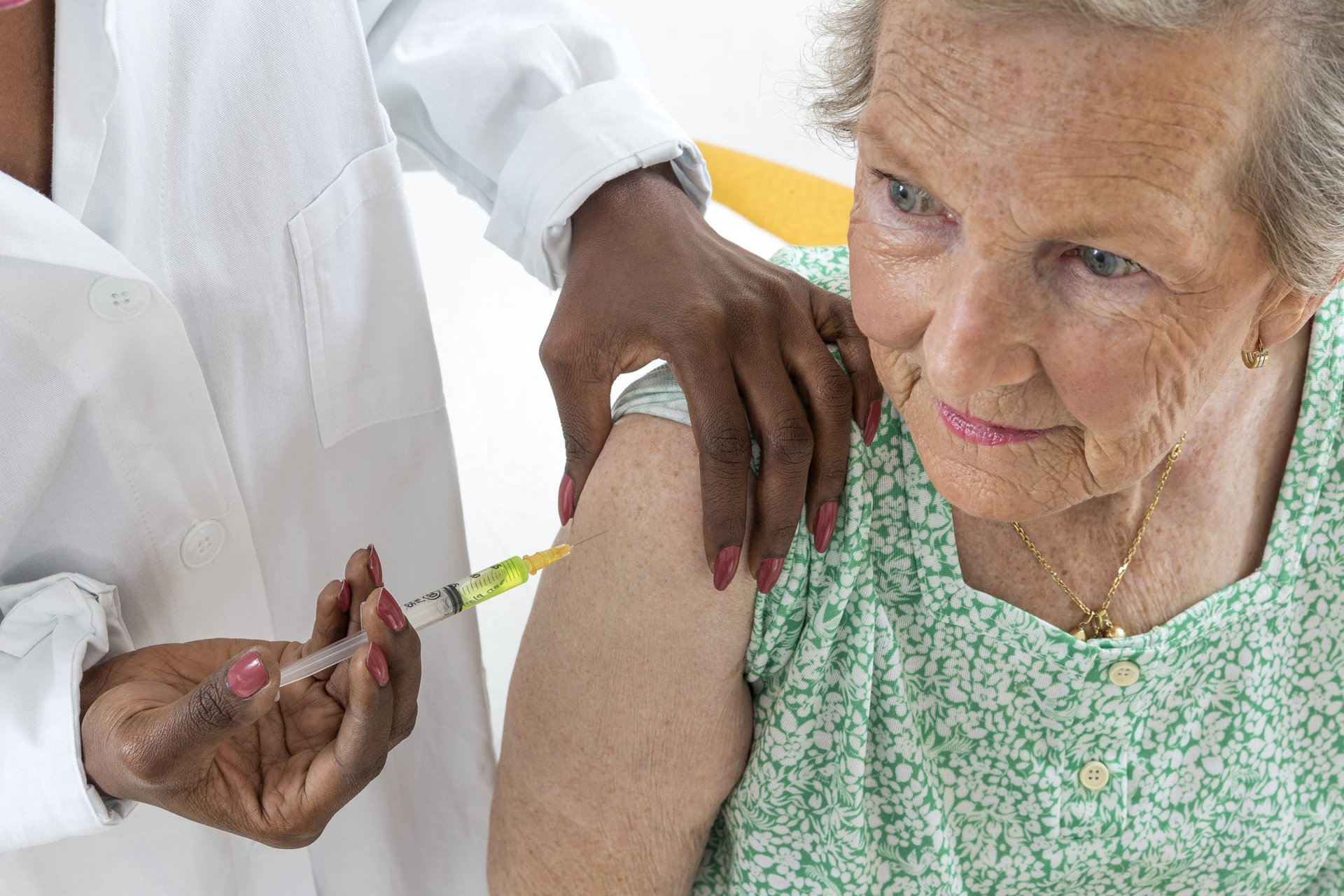 Woman getting a flu shot