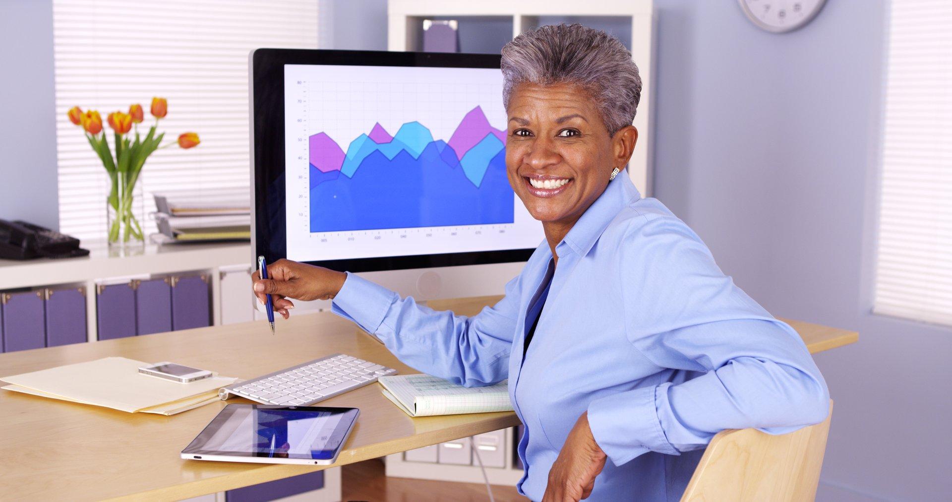 Senior woman working