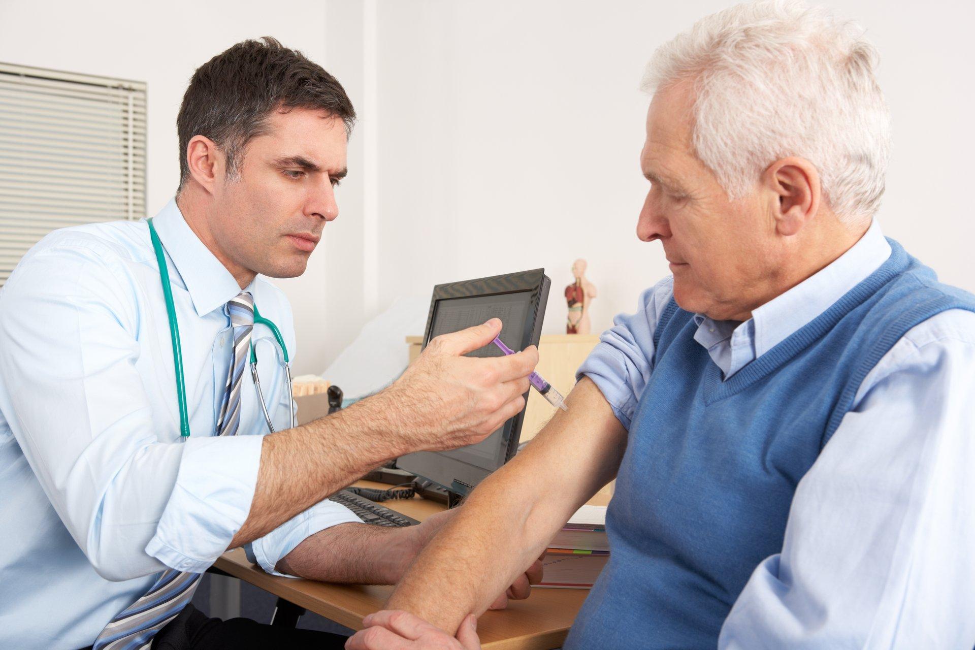 Older man getting vaccine