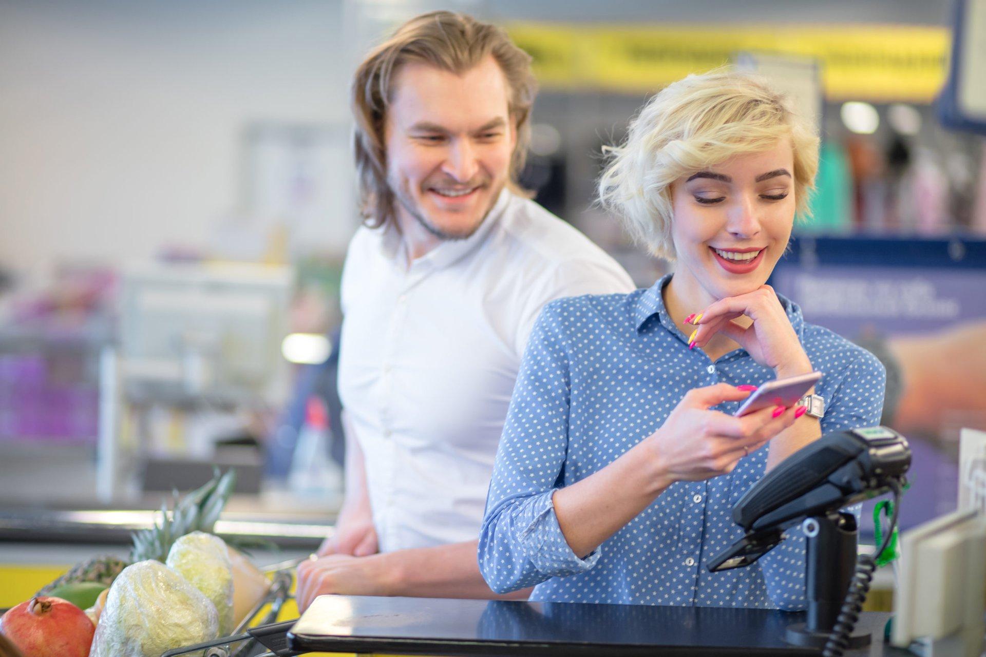 Woman using a digital coupon