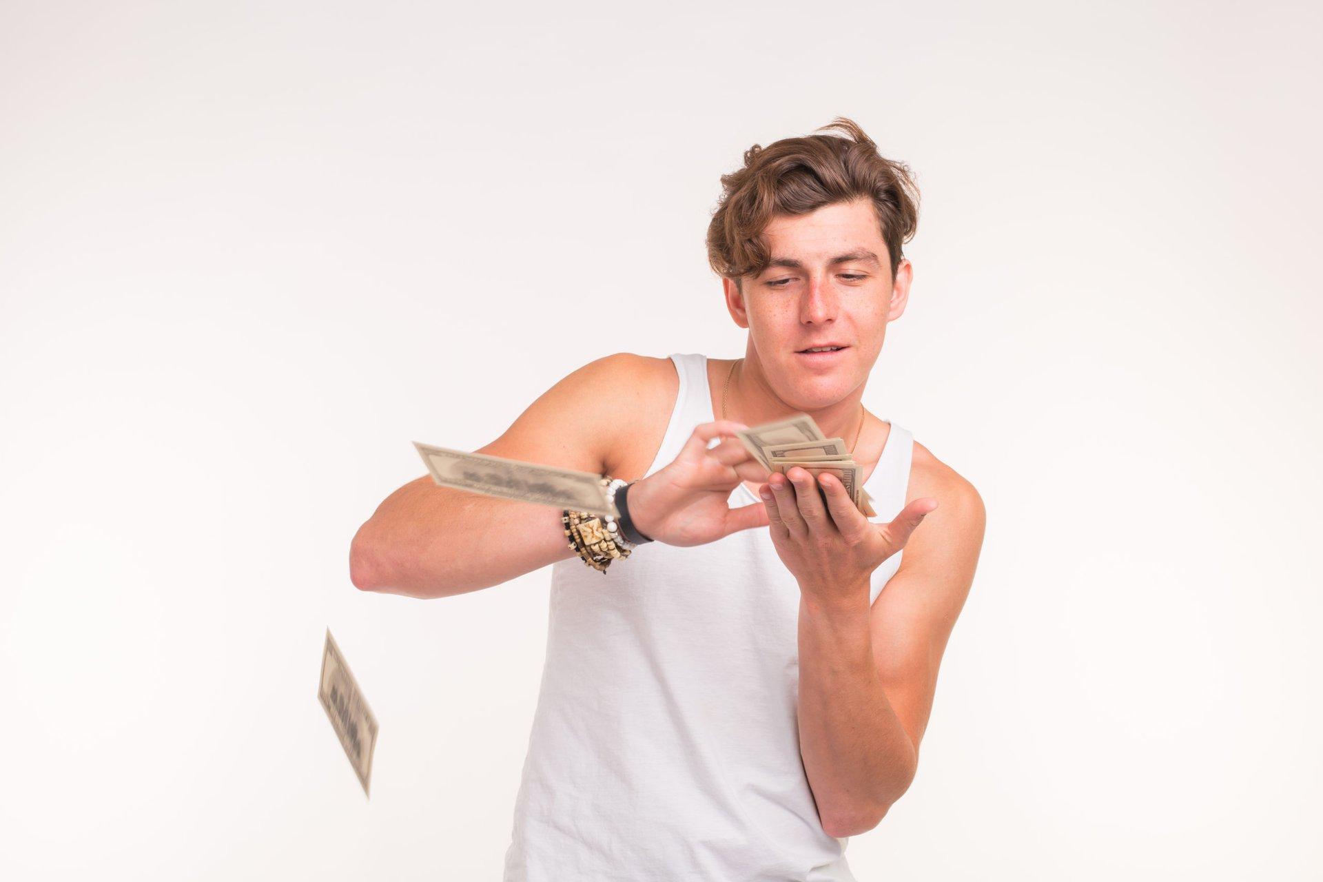 Rich man wasting money