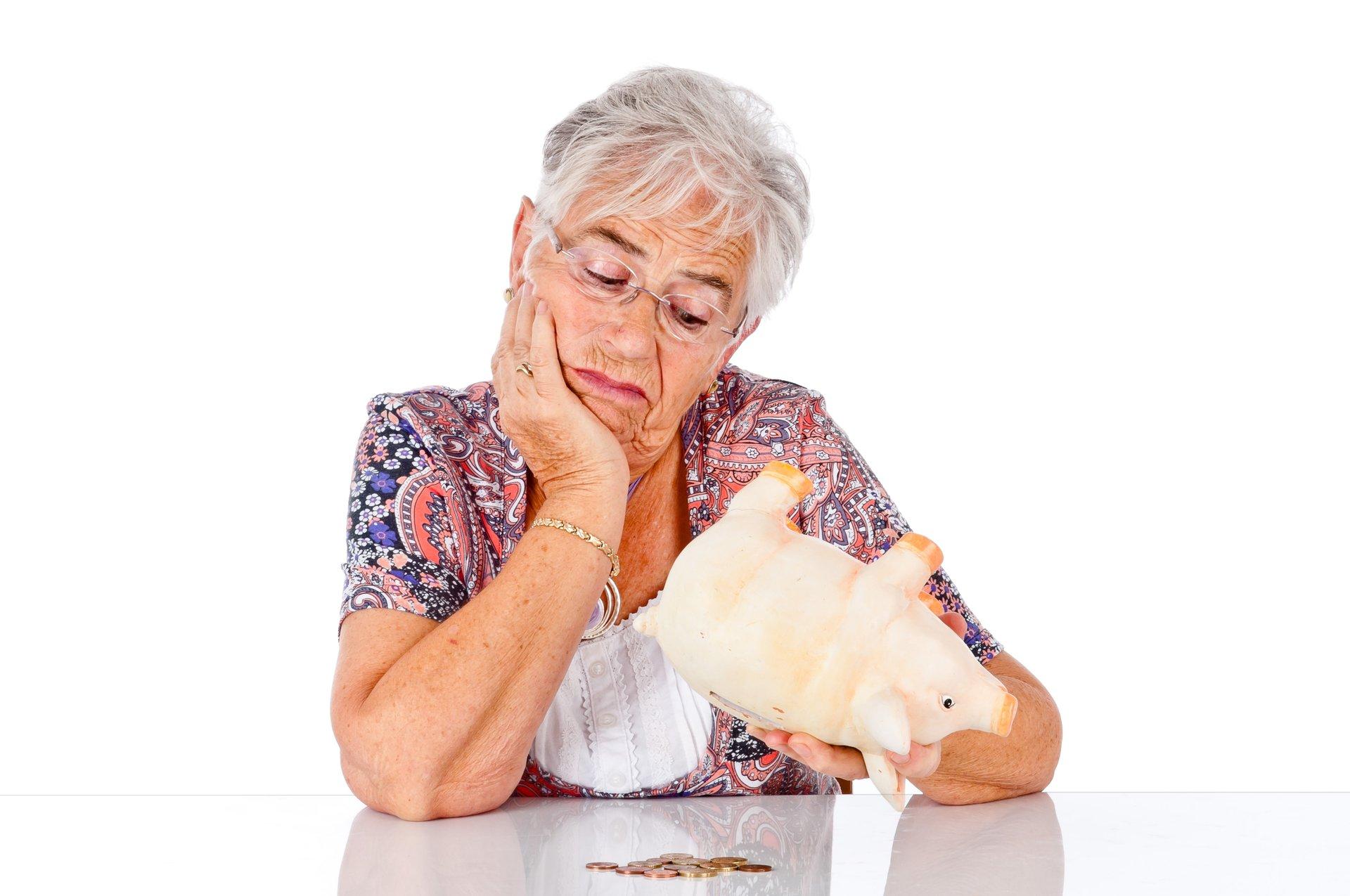Senior woman with no money