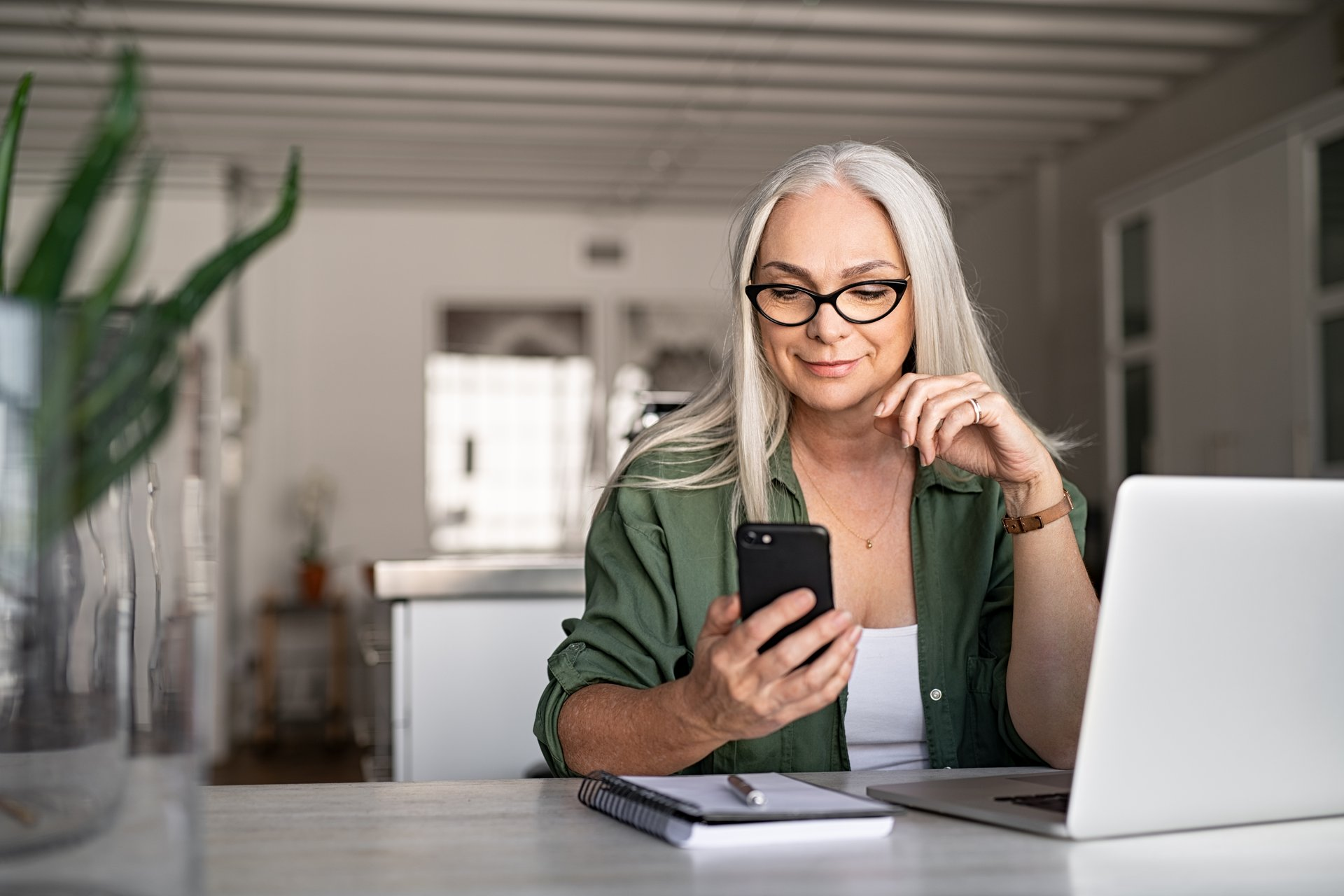 Woman using two-factor authentication